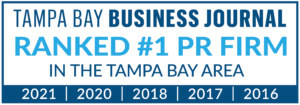 Vistra is Ranked as the Tampa Bay Area's #1 PR Firm by the Tampa Bay Business Journal for 2021, 2020, 2018, 2017 and 2016.